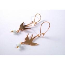 Boucles d'oreilles hirondelles doré