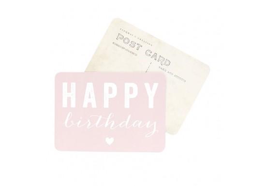 Carte postale Happy Birthday coeur rose