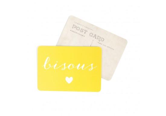 Carte postale Bisous / Anna - jaune