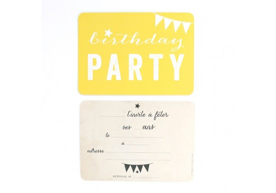 Carte d'invitation Birthday Party - jaune