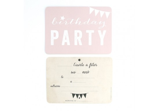Carte d'invitation Birthday Party - rose