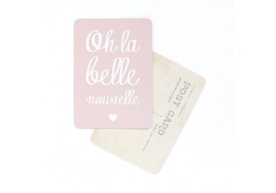 Carte postale Oh la belle nouvelle / Mona - rose