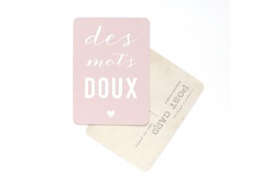 Carte postale Des mots doux - rose