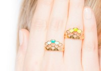 Bague Ecaille ananas - vert turquoise
