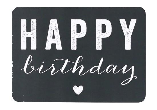 Carte postale Happy Birthday coeur - ardoise