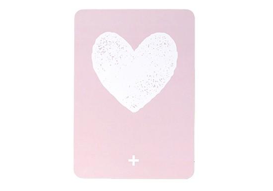 Carte postale cœur - Rose