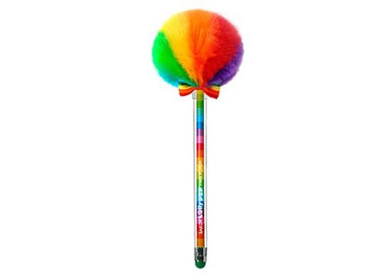 Stylo pompon rainbow
