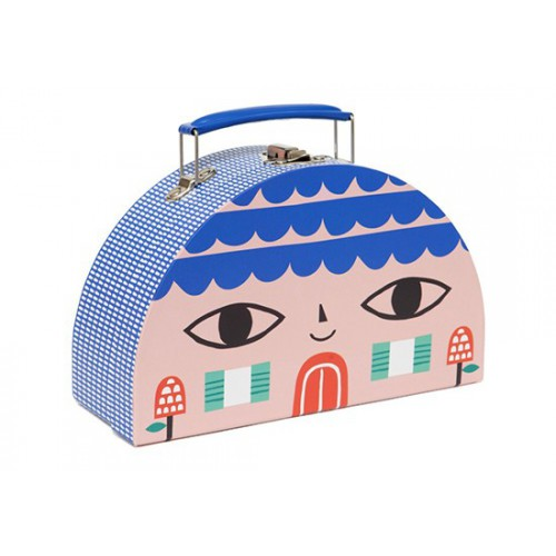 Valisette S bleue - maison/oiseau