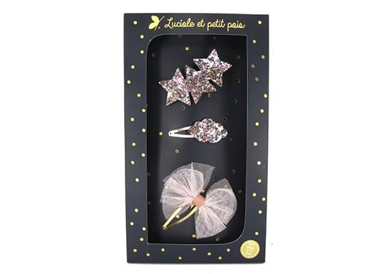 Coffret 3 barrettes - glitter rose