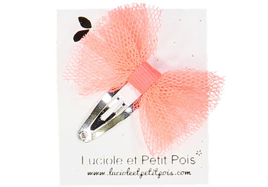 Barrette mini papillon tulle orange fluo