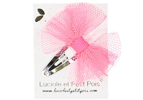 Barrette mini papillon tulle rose fluo
