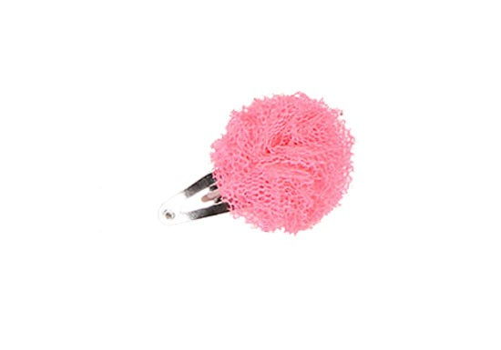 Barrette mini pompon rose fluo