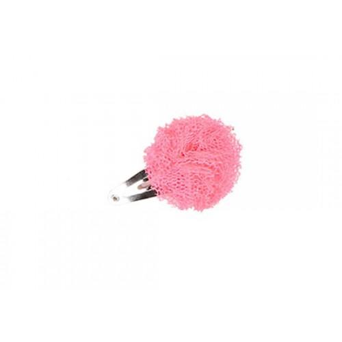 Barrette mini pompon rose fluo