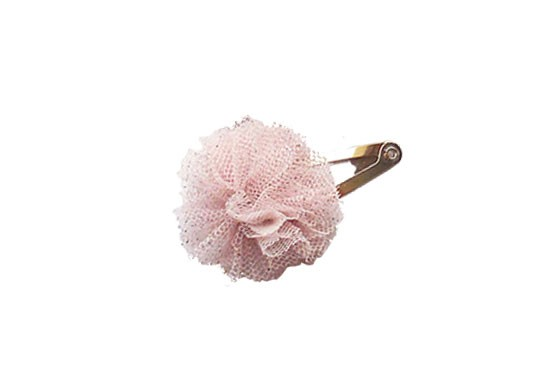 Barrette mini pompon rose poudré