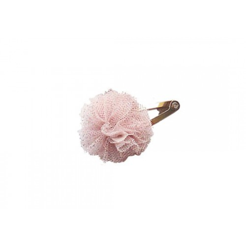 Barrette mini pompon rose poudré