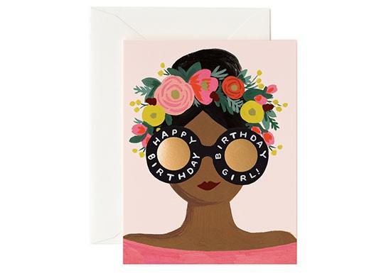 Carte postale Happy birthday couronne fleurs