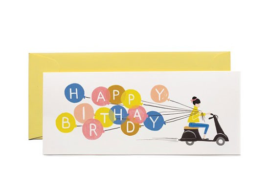 Carte postale rectangulaire Happy birthday scooter