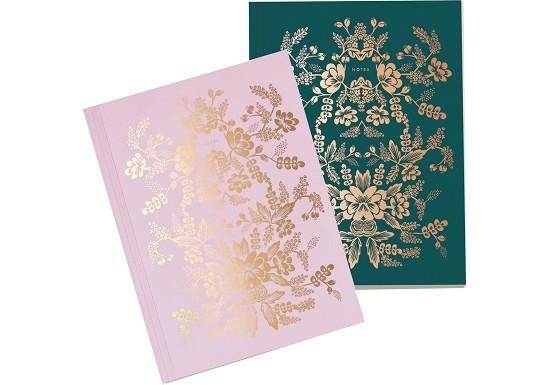 Set de 2 cahiers rose et vert - fleurs dorées - Rifle