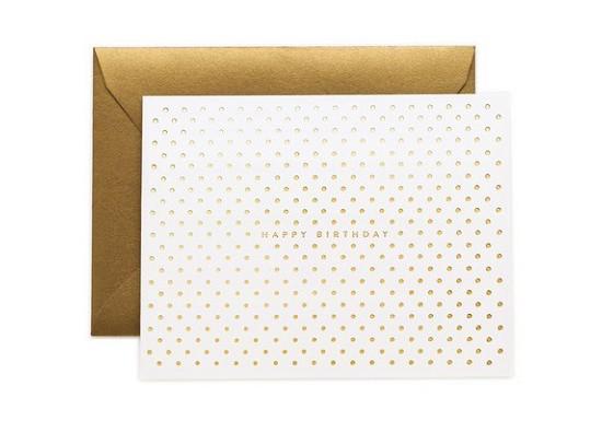 Carte Happy birthday - pois dorés
