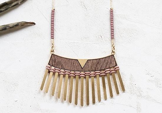 Collier Woven long bois/violet