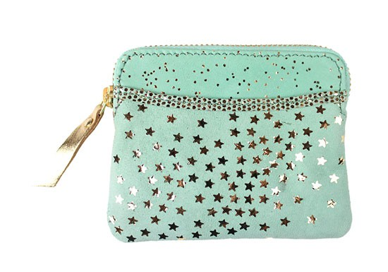 Porte monnaie zip étoiles mint