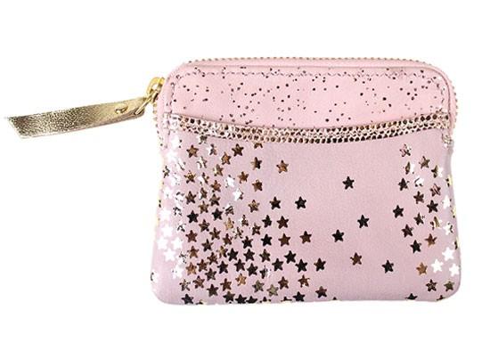 Porte monnaie zip étoiles rose