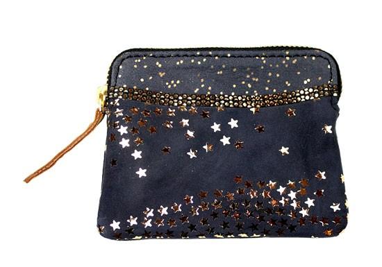 Porte monnaie zip étoiles noir