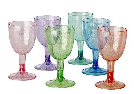 6 verres à vins glitter