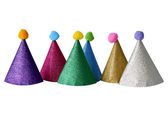 6 chapeaux glitter party