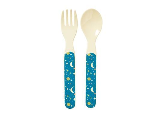 Set cuillère et fourchette Moon bleu
