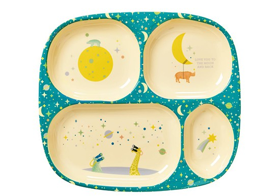 Assiette compartiments Love you to the moon bleu