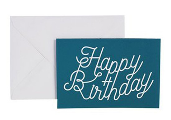 Carte de voeux Happy Birthday bleu canard