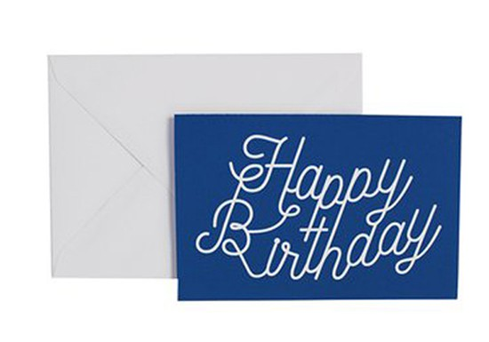 Carte de voeux Happy Birthday bleu marine