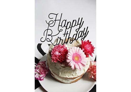 Décoration de gâteau Happy Birthday noir