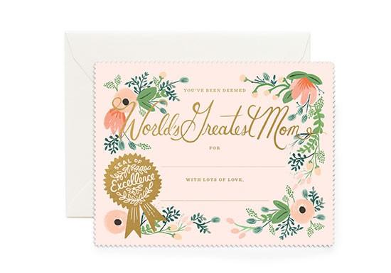 Carte postale Greatest Mom certificate