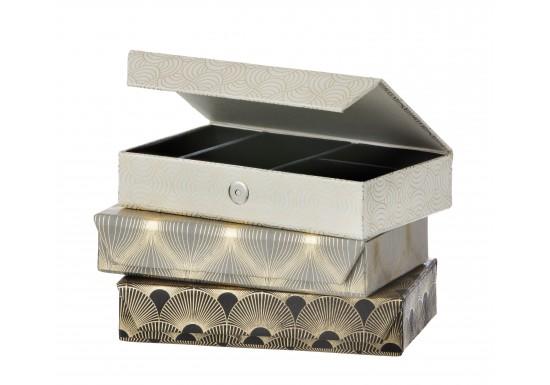 Boîte à bijoux grise (3 motifs au choix)