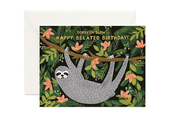 Carte double Sloth belated birthday