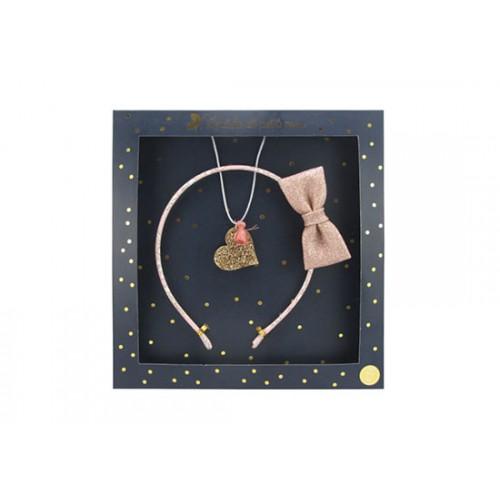 Coffret Collier coeur et serre-tête nœud rose
