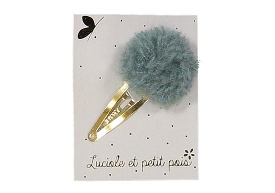 Barrette pompon laine bleu gris