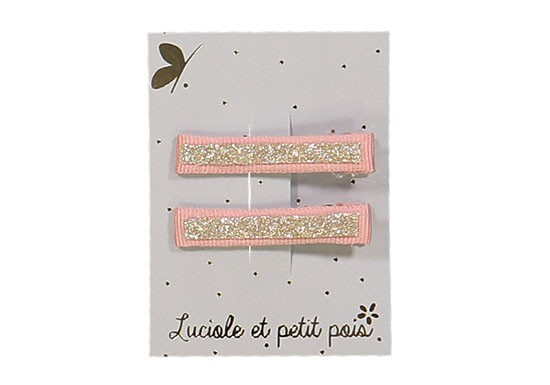 Lot de 2 barrettes croco rose et glitter or