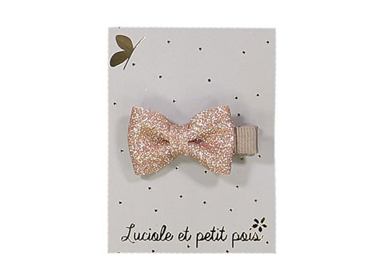 Barrette mini nœud rose glitter