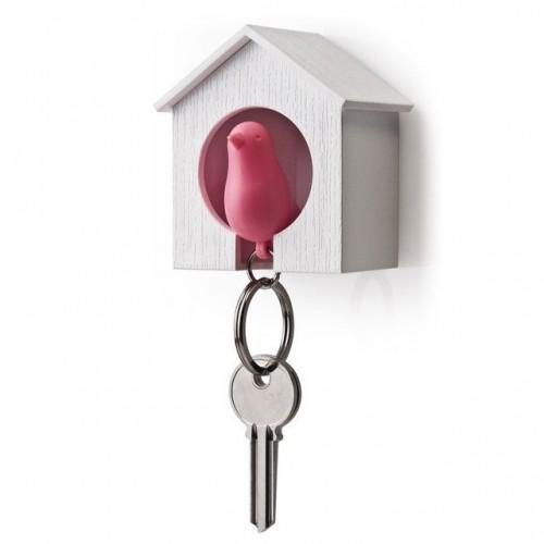 Maison porte clés oiseau rose