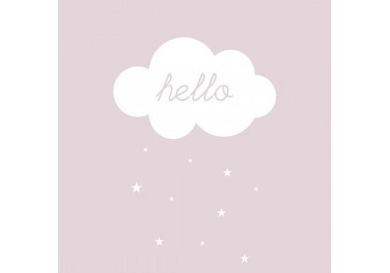 Carte postale Hello nuage - rose poudré