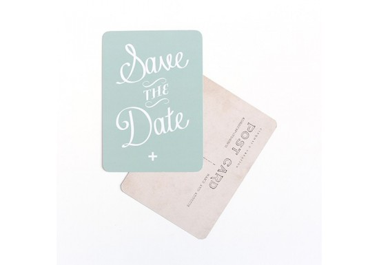 Carte postale Save the date - vert menthe