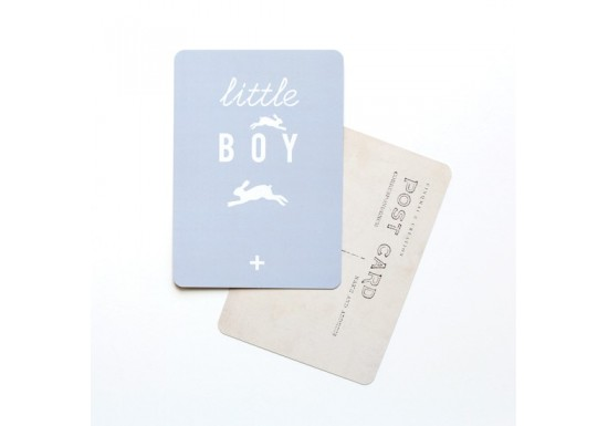 Carte postale Little boy - gris bleu