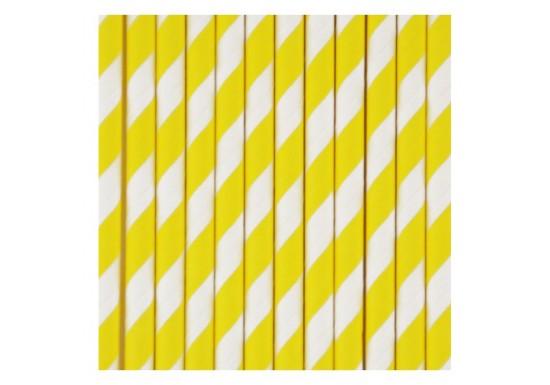 Pailles à rayures blanches et jaunes