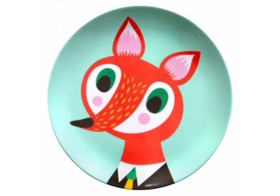 Assiette turquoise renard