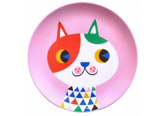 Assiette rose chat arlequin