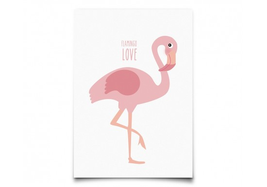Carte postale Flamingo Love