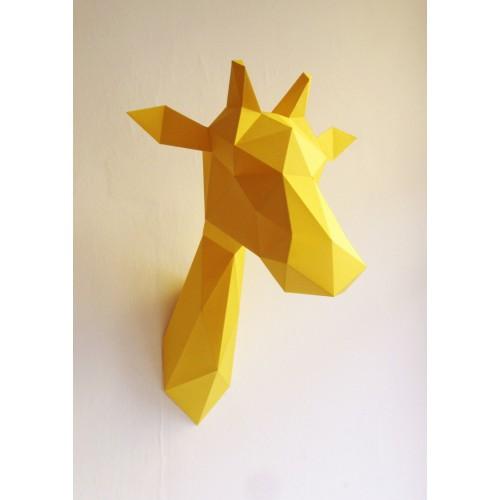 Trophée girafe jaune